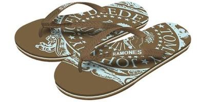 Ramones: Mens Brown Big Sign - Size L (Sandals)